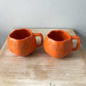 Rae Dunn Orange TURKEY DAY Mugs Lot of 2 New